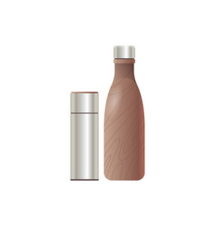 stainless water bottle closed thermos drink vector image