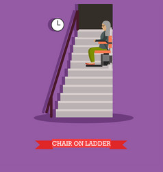 Stair lift for the elderly in vector