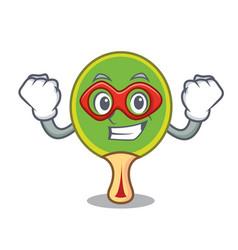 Super hero ping pong racket character cartoon vector
