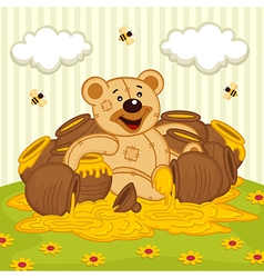 Teddy bear among pot of honey on meadow vector