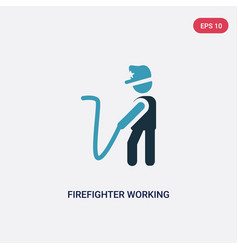 two color firefighter working icon from people vector image