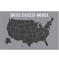 Usa map with state boundaries blank black contour vector