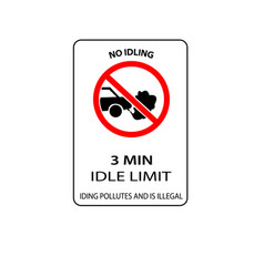 usa traffic road signs no idling for more than 3 vector image