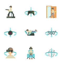 Virtual simulation icons set cartoon style vector