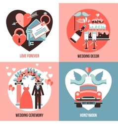 Wedding 2x2 images set vector