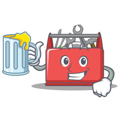 With juice tool box character cartoon vector