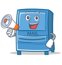 with megaphone mailbox character cartoon style vector image