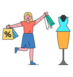 woman shopping at boutique on discounts and sales vector image