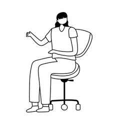 young woman sitting on office chair isolated vector image