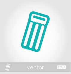 Floating mattress on beach outline icon summer vector