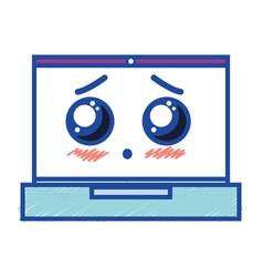 Kawaii cute tender laptop technology vector