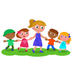 woman with group of children vector image vector image