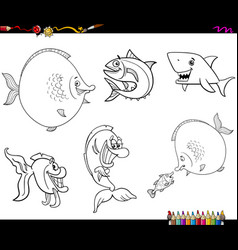 cartoon fish set coloring book vector image