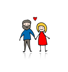 couple in love sketch for your design vector image vector image