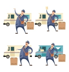 Postmans with boxes and cars1 vector image