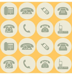 seamless background with telephone icons vector image
