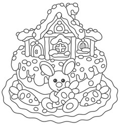 Easter cake with a bunny and its house vector