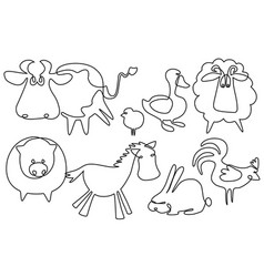 farm animals one line drawing vector image vector image