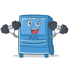Fitness mailbox character cartoon style vector
