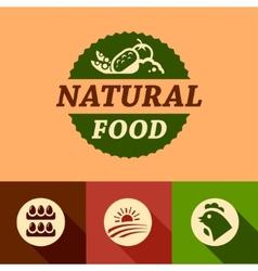 flat natural food emblems vector image