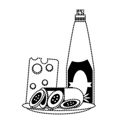 wine bottle and cheese board vector image