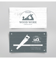Woodwork vintage card vector
