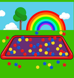 garden kids with colorful ball and rainbow sky vector image