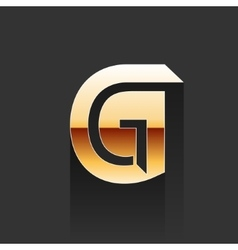 Gold Letter G Shape Logo Element vector image