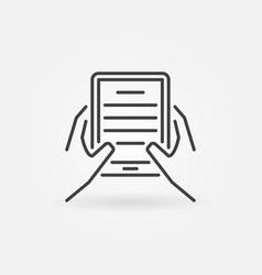hands holding ebook reader icon vector image