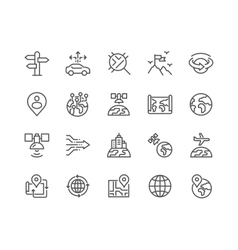 Line Global Navigation Icons vector image vector image