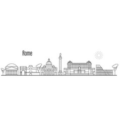 rome and vatican city skyline - cityscape with vector image