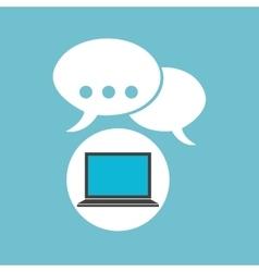 social media laptop bubble speech vector image vector image