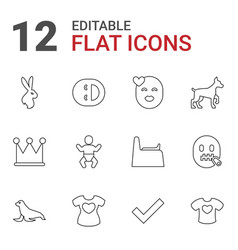 12 cute icons vector
