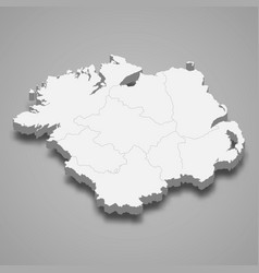 3d isometric map ulster is a province vector