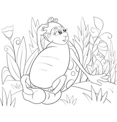 a children coloring bookpage a cartoon ladybird vector image