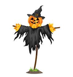 a halloween scarecrows with a jack o lantern head vector image
