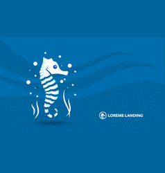 abstract sea horse banner template white vector image