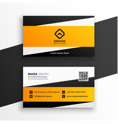 abstract yellow geometric business card design vector image