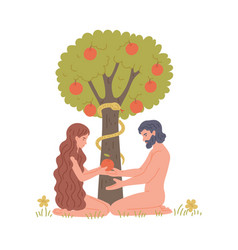 Adam and eve in eden next to apple tree flat vector
