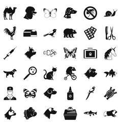 animal icons set simple style vector image