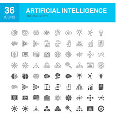 artificial intelligence line web glyph icons vector image