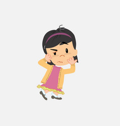 Asian girl something sick and dizzy vector