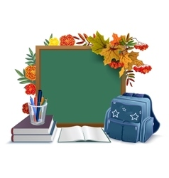 Back to school Blackboard backpack books on vector image