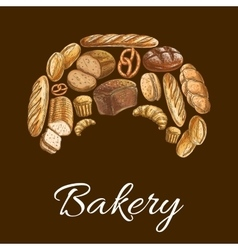 Bakery shop croissant symbol of bread icons vector