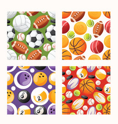 ball seamless pattern football basketball soccer vector image