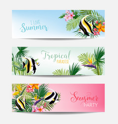 Banner set of tropical flowers and exotic fish vector