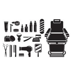 Barber shop equipments set monochrome vector