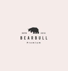 bear bull logo hipster retro vintage vector image