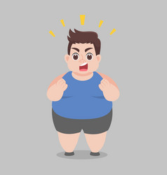 Big fat happy man try to lose weight vector