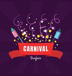 carnival funfair banner template amusement park vector image